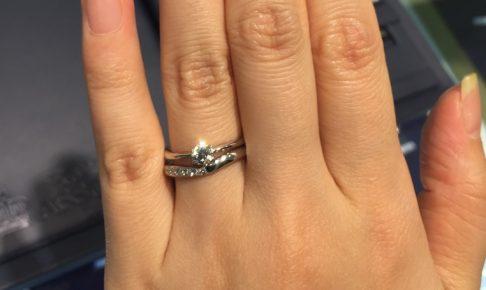 ロイヤルアッシャー_婚約指輪重ね付け